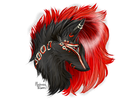 Commish: Quilldog Headshot by MischievousRaven