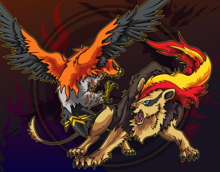 Talonflame and Pyroar by Belldia