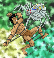 Tarzan vs. Spider-Bot by JungleCaptor