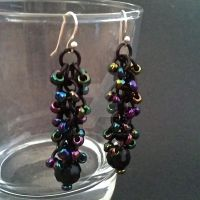 Black Iridescent Shaggy Loops Chainmaille Earrings by Rosie-Periannath