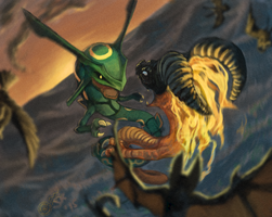 Rayquaza VS. Volvagia by Snashyle