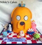 Adventure time cake with sculpted characters. by Corpse-Queen