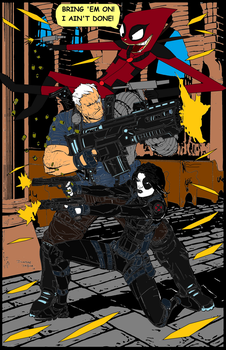 Deadpool and Cable and Domino In A Fire Fight by multificionado