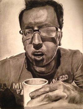 Self-portrait. Charcoal.  by mitchfuboy