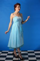 Woman in blue dress stock 1 by A68Stock