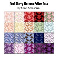 Pixel Cherry Blossom Patterns by ShoriAmeshiko