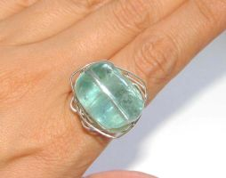 Aquamarine wire ring by CrysallisCreations
