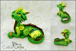 Green dice Cayo Dragon - polymer clay sculpture by CalicoGriffin