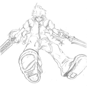 roxas pencil practice by jhaider88