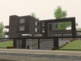 Sims 3 Modern Black mansion by RamboRocky
