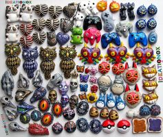 90+ Handsculpted/painted IDEATIONOX misc charms by Ideationox