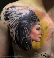 Girl in head dress tattoo by SamaelCahill