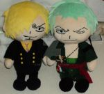 Zoro and Sanji Plushies by sbcal