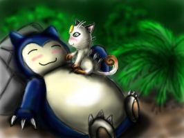 snorlax and meowth for herlinde by pie-lord