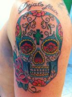 mexican sugar skull color tattoo by marcossangre