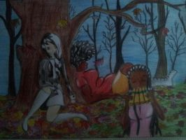 Madacan, Mama TrisH and Shenuiqa in the fall by Jenssiej