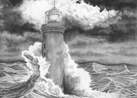 lighthouse in the storm by eliud