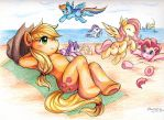 Applejack and Friends on the Beach by ze-tta