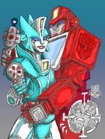 Ironhide and Chromia coloured by LovgrenO