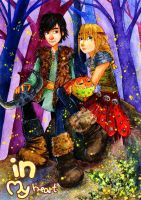 Hiccup and Astrid_On the fireflies glade by Mizuho-sensei