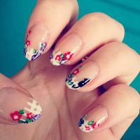 Floral White Picket Fence Manicure by megs2606