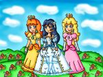 the princesses in a flower field by ninpeachlover