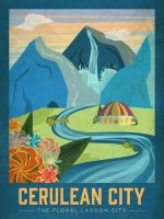 PosterVine Pokemon Travel Poster Cerulean City by PosterVine