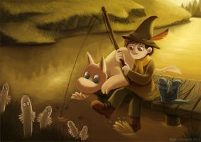 Snufkin and Moomintroll by Cryptid-Creations