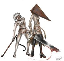 Pyramid Head and Nurse by rabidjigglypuff