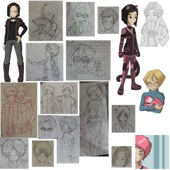 Random Cl sketches etc. by Millyoko