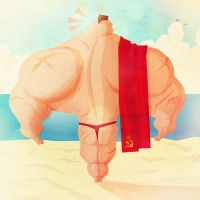 Zangief on the beach by peerro