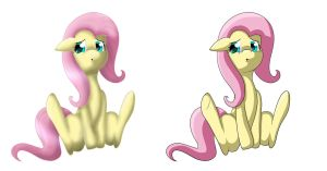Fluttershy -- Two styles by TheBatFang