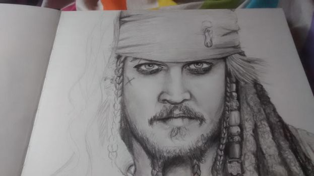 Jack Sparrow pencil drawing W.I.P more detail by Clairvoyantartistry