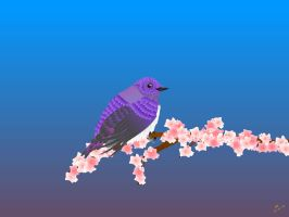 Purple Bird with Cherry Blossoms by taewon26