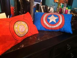 Avengers Pillows: Iron Man and Captain America by HarleyRoux