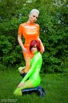 orange and green pvc dresses. by AgnaDevi