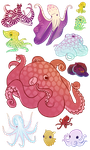 a variety of octopi by MyaTheSquishyOctopus
