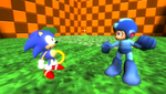 Classic Sonic, meet Classic Mega Man by Nictrain123