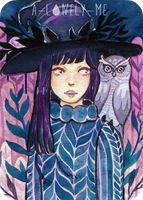Witch with Owl - ACEO by a-lonely-me