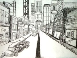 One Point Perspective City by ForgottenPenguin