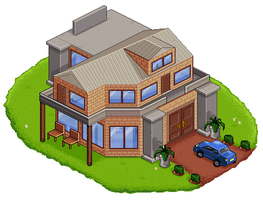 Isometric House + Car. by craigsimm