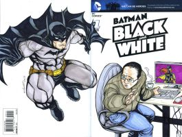 Batman blank and white sketch cover commission by mdavidct