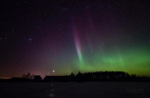Venus, Jupiter And Aurora Borealis by JoniNiemela
