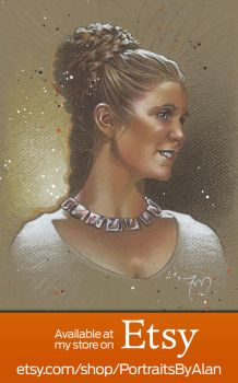 Princess Leia Organa - Carrie Fisher Portrait by PortraitsByAlan