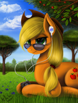 Applejack listens to Apple by Victory-S