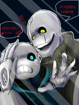 (Art Trade) UnderSanity sans and Mad Gaster by MEGA1126
