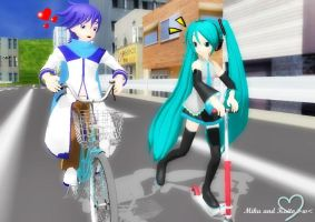 Miku and Kaito - Riding together by Peachy-Pink10