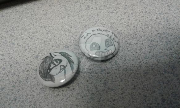 Here are a couple (literally) buttons I made by BonezandGrim4ever