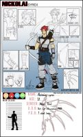 Nickolai Syrex Character sheet by InvisibleRainArt