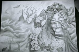 In the midst of the fallen leaves... (w.i.p.) by AmyTheLady
